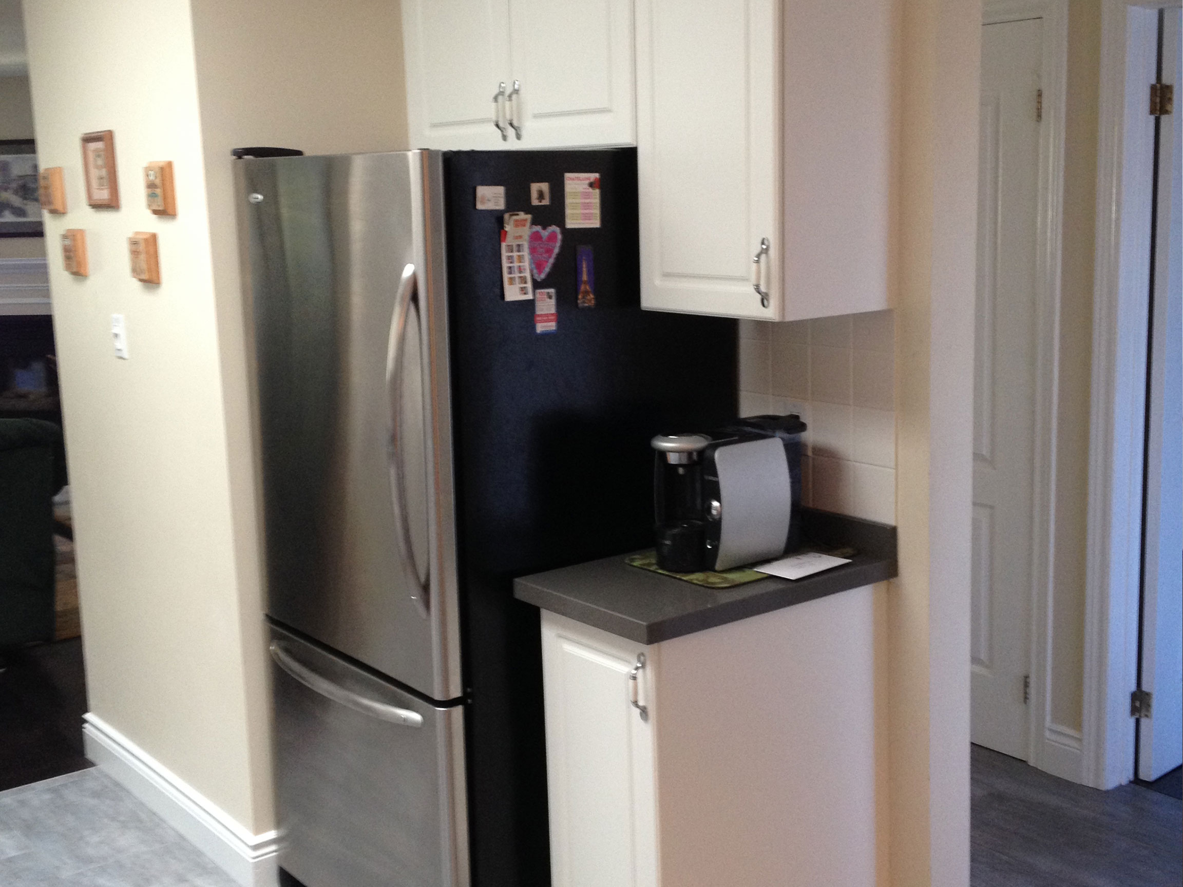 Kitchen Cabinet Reface Fridge Wall Before
